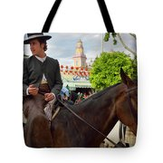 Handsome Man And Beautiful Woman Drinking On Horseback With 2015 Tote Bag