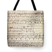 Handwritten Score For Waltz For Piano, Opus 39 Tote Bag
