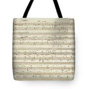 Handwritten Score For Waltz In Flat Major Tote Bag