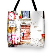 Hanging Clothes Under Road Sign Tote Bag