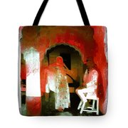 Hanging Out Travel Exotic Arches Red Abstract Square India Rajasthan 1e Tote Bag