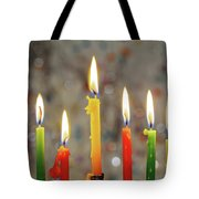 Hanukkah Menorah With Burning Candles Tote Bag