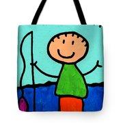 Happi Arte 2 - Boy Fish Art Tote Bag by Sharon Cummings