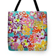 Happy Abstract Flowers Tote Bag