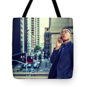 Happy African American Businessman Working In New York Tote Bag