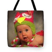 Happy Baby In A Woollen Hat Tote Bag