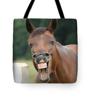 Happy Birthday Smiling Horse Tote Bag
