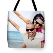 Happy Couple On Beach Tote Bag