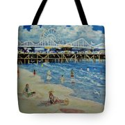 Happy Day At Santa Monica Beach And Pier Tote Bag
