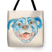 Happy Dog Blue Tote Bag
