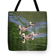 Happy Ducks On The Pond Tote Bag