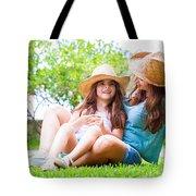 Happy Family In The Backyard Tote Bag