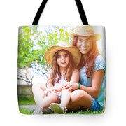 Happy Family On A Backyard Tote Bag