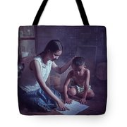 Happy Family Sisters And Brothers Read Books In The Evening At H Tote Bag