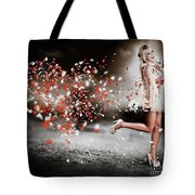 Happy Flower Girl In A Running Love Heart Romance Tote Bag