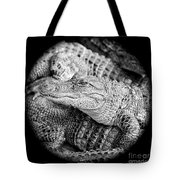 Happy Gator Black And White Tote Bag