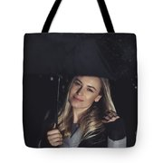 Happy Girl At Rainy Night Outdoors Tote Bag