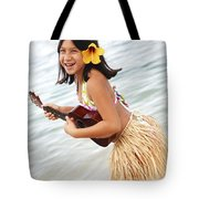 Happy Girl With Ukulele Tote Bag by Brandon Tabiolo - Printscapes