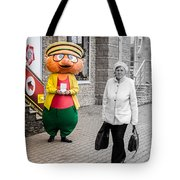 Happy Hamster And Od Woman Colour Art Tote Bag