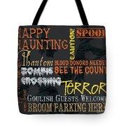 Happy Haunting Typography Tote Bag