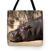 Happy Hippo Tote Bag by Laurie Lundquist