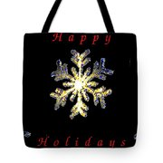 Happy Holiday Snowflakes Tote Bag
