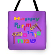 Happy Joyous Purim In Hebrew And English Tote Bag