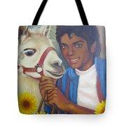 Happy Michael Jackson With His Pet Llama  Tote Bag