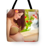 Happy Pregnant Girl On The Beach Resort Tote Bag
