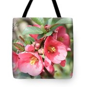 Happy Spring Flowering Quince Card And Poster Tote Bag