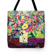 Happy Summer Flowers Tote Bag