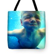 Happy Under Water Pool Boy Vertical Tote Bag