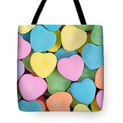 Happy Valentines Day With Colorful Heart Shaped Candies Tote Bag