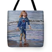 Happy With Sea And Sand Tote Bag