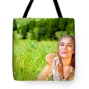 Happy Woman Outdoors Tote Bag