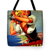 Happy Woman With Flowers, Festival In Ventimiglia, Italy Tote Bag
