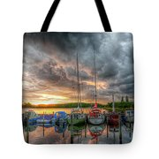 Harbor Fire Reflections Tote Bag
