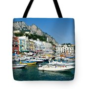 Harbor Of Isle Of Capri Tote Bag by Jon Berghoff