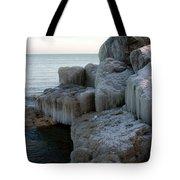 Harbor Rocks In Ice Tote Bag by Kathy DesJardins