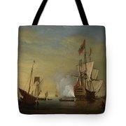 Harbor Scene An English Ship With Sails Loosened Firing A Gun Tote Bag