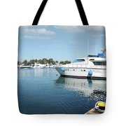 Harbor With Yacht And Boats Tote Bag