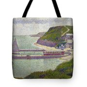 Harbour At Port En Bessin At High Tide Tote Bag by Georges Pierre Seurat
