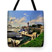 Harbour Town Marina Sea Pines Resort Hilton Head Sc Tote Bag by Lisa Wooten