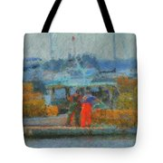 Hard Work At Lobster Dock Boothbay Harbor Maine Tote Bag