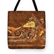 Harley Davidson Classic Bike, Original Golden Art Print For Man Cave Tote Bag