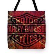 Harley Davidson Logo Confederate Flag Tote Bag