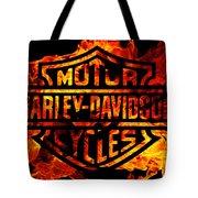 Harley Davidson Logo Flames Tote Bag