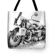 Harley Davidson Military Motorcycle Bw Tote Bag