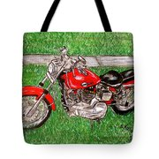 Harley Red Sportster Motorcycle Tote Bag