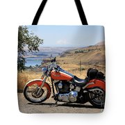 Harley With Columbia River And Mt Hood Tote Bag